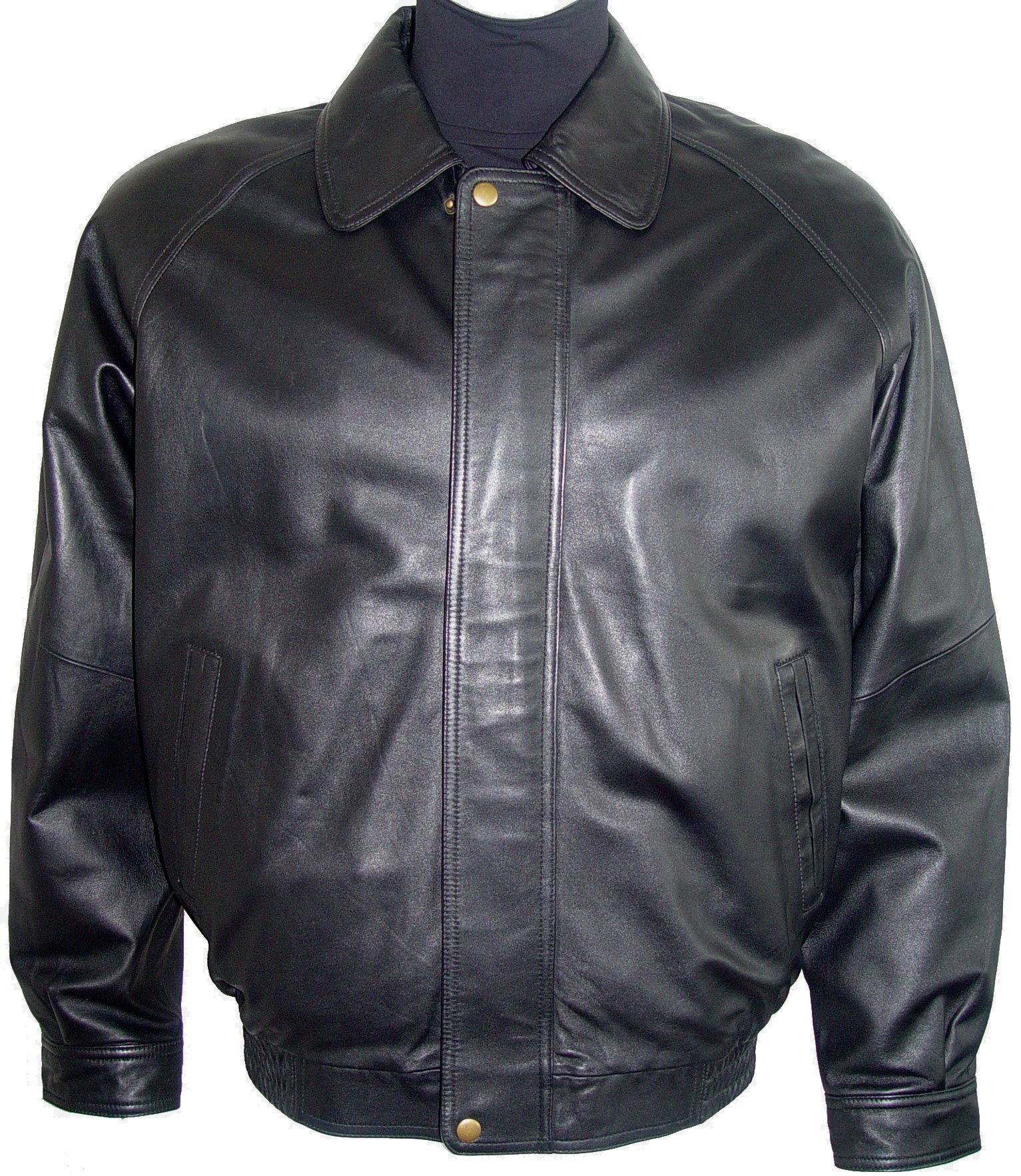 Paccilo 1026 Big Man Black Leather Bomber Jacket & Coats Silky Fabric Lining