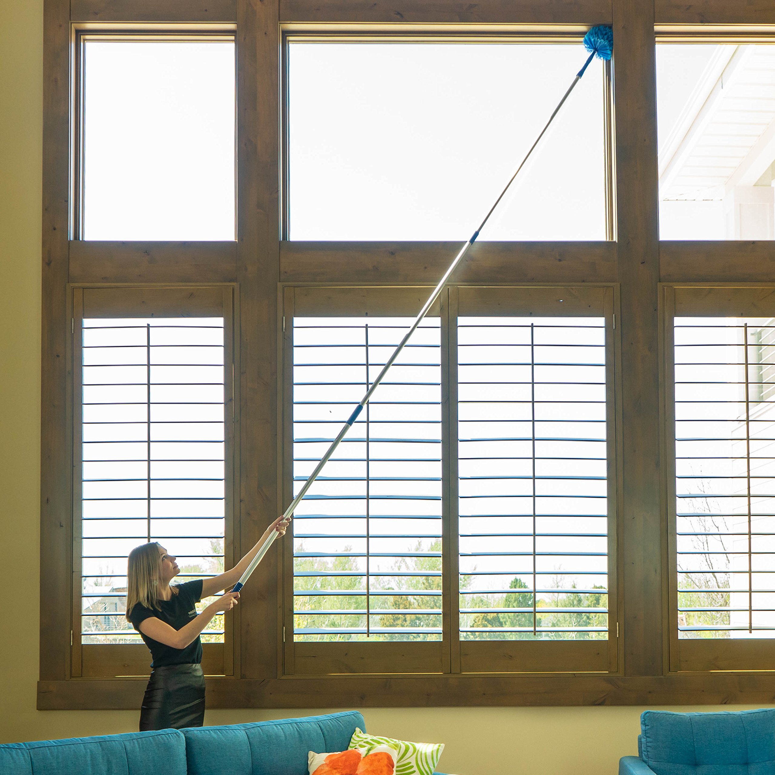 Ceiling Fan Duster Cobweb Duster, Extendable Reach 20 feet,   3-Stage Aluminum Telescoping Pole   Extends for High Ceiling Duster   Long Handle Plus 2 Duster Heads by U.S. Duster Company (Image #5)