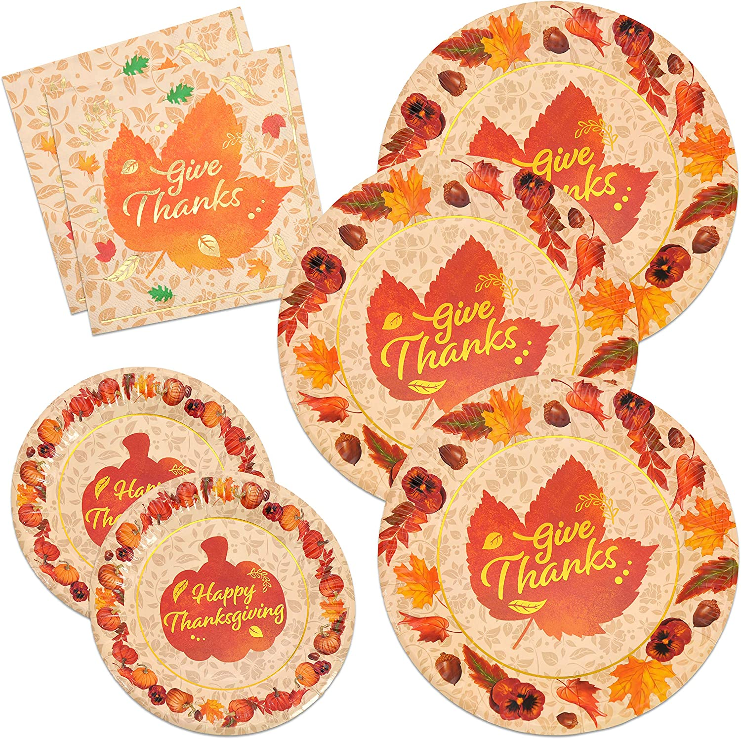Thanksgiving Paper Plates and Napkins Disposable Dinnerware Set for 48 guests Fall Theme Party Supplies give thanks Pumpkin Autumn Tableware Set in Elegant Gold Foil Fall Design
