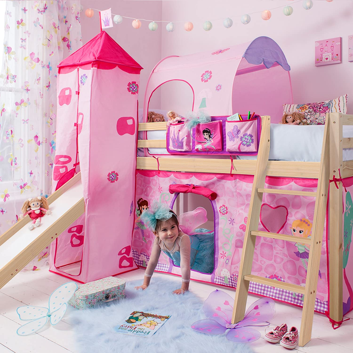 Noa and Nani Midsleeper Cabin Bed with Slide and Pirate Hideaway Tent Tower Natural Pine Tunnel and Bed Tidy -