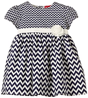 Salt And Pepper Baby Girls 0 24m Dress Blau Zickzackmuster