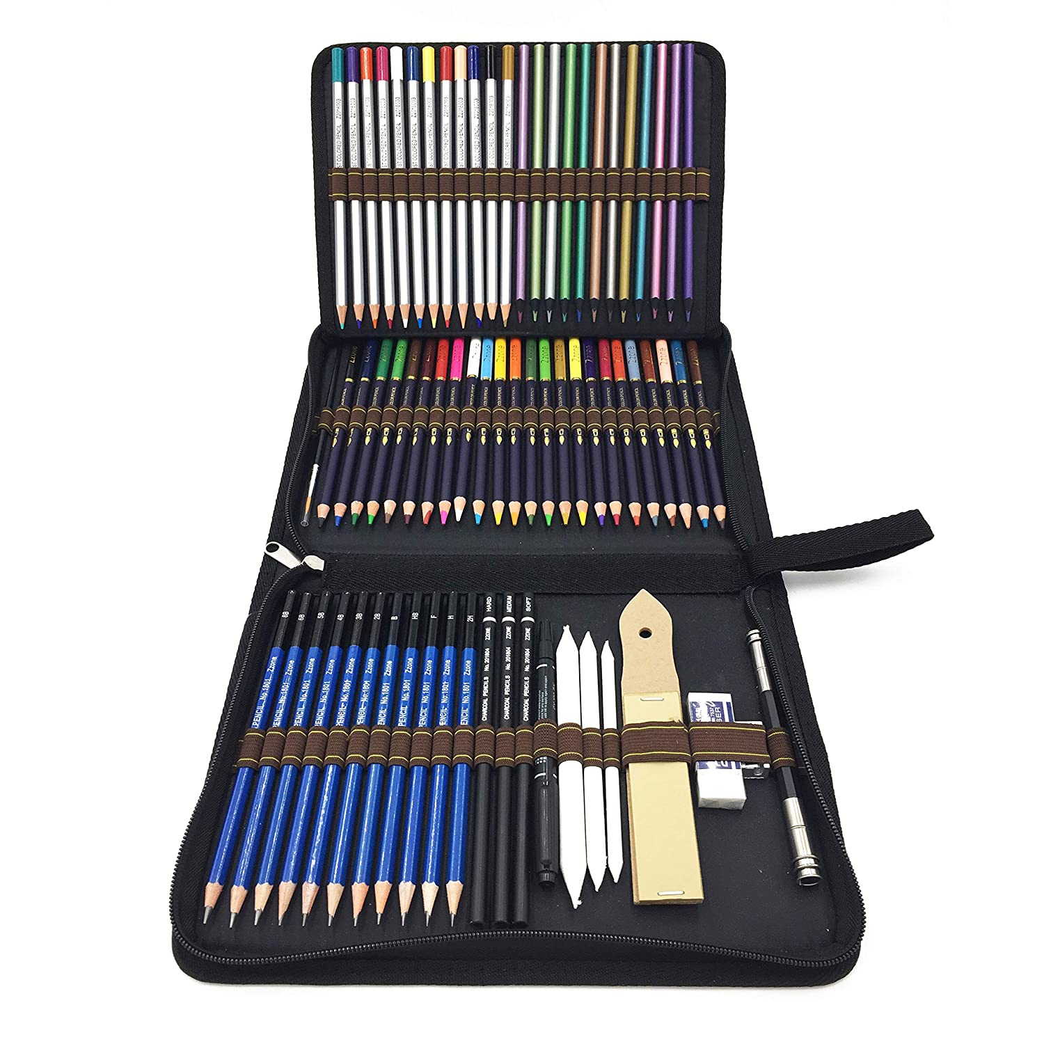 72 Piece Drawing Pencils, Colouring Pencils and Sketch Pencils Set with Drawing Tool in Pop Up Zipper Case - Ideal Gift for Beginners & Pro Artists Drawing Art, Sketching, Shading & Colouring TVGO