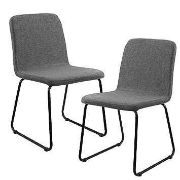 [en.casa]®] Set de 2 sillas de Comedor de Elegante diseño - tapizado de Tela - Gris Oscuro - 81 x 44cm - para salón, Cocina