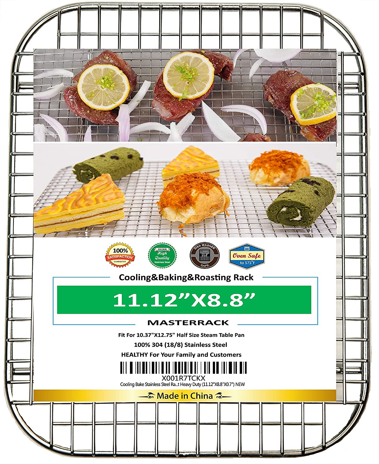 100% 304 Stainless Steel Cooling Rack and Wire Grate For Half Size Steam Pan,Real Heavy Duty 1.05LB for Cooking, Roasting,Drying,Commercial Quality,Healthy Material Compliance with FDA by SGS.