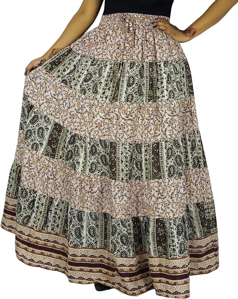 Indianbeautifulart Puro Vestido Largo de Seda Larga Falda con ...