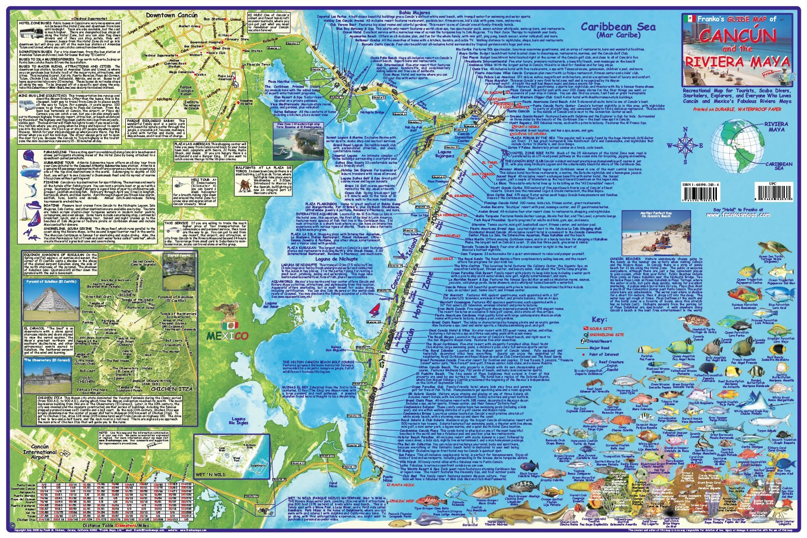 Cancun & Riviera Maya Mexico Adventure & Dive Map Laminated Poster on