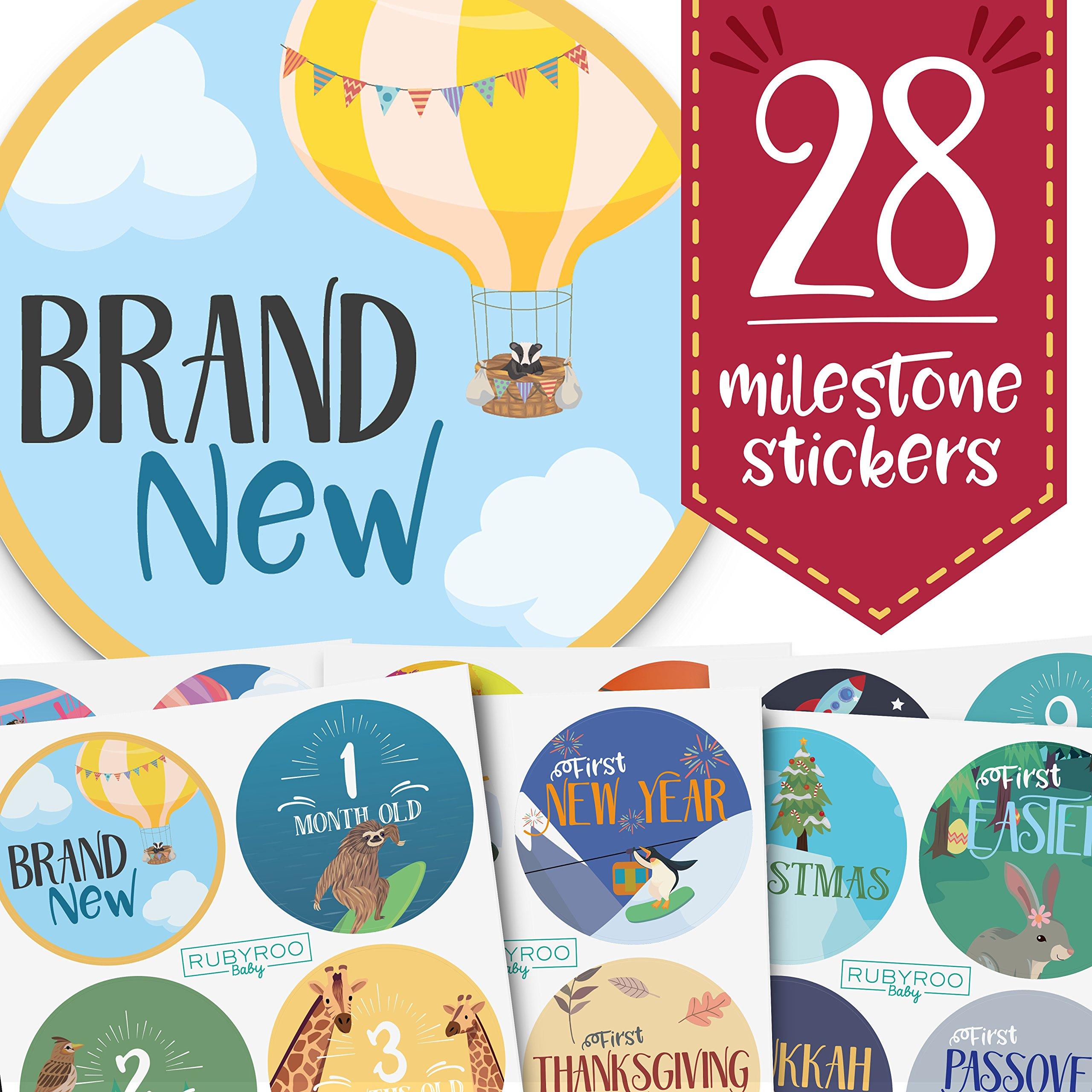 Baby Month & Milestone Stickers - 28 Pack - Baby Boy & Girl Onesie Belly Stickers. Includes 12 monthly, 1st year milestones & first holidays. Perfect baby shower & newborn birthday gift. (Adventure)