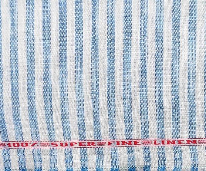 546defe3ce7 Raymond 100% Super Fine Linen Blue Stripes Shirt Fabric (1.70metres ...