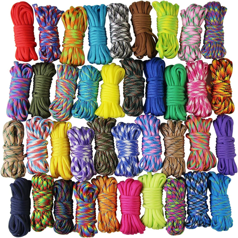 UOOOM 10 pcs Color Paracord Bracelet Rope Parachute Cord Outdoor Survival Rope Set DIY Manual Braiding 10 Feet (Colorful x 10 pcs)