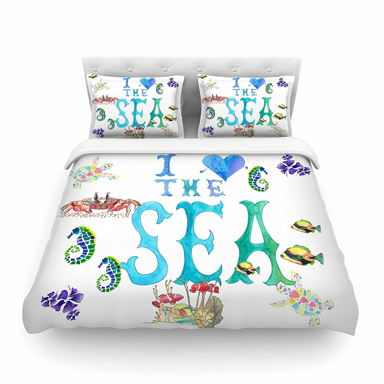 88 x 88 Kess InHouse Catherine Holcombe I Love The Sea Ocean Typography Cotton Queen Duvet Cover
