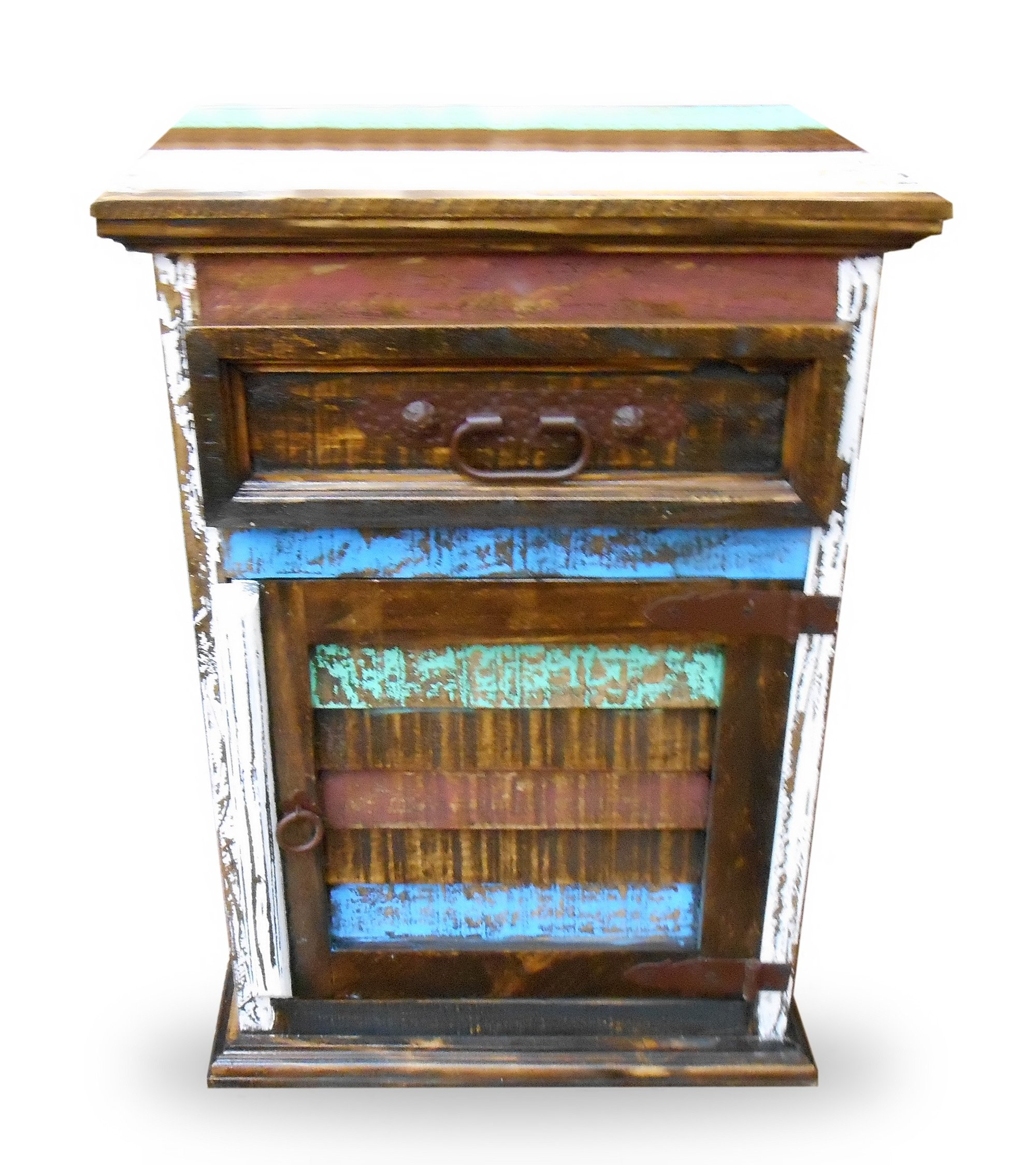Mansion Rustic Nightstands with 1 Drawer and 1 Door Free Shipping Multicolor Distressed Finish Cabana Styled (RIGHT HINGED)