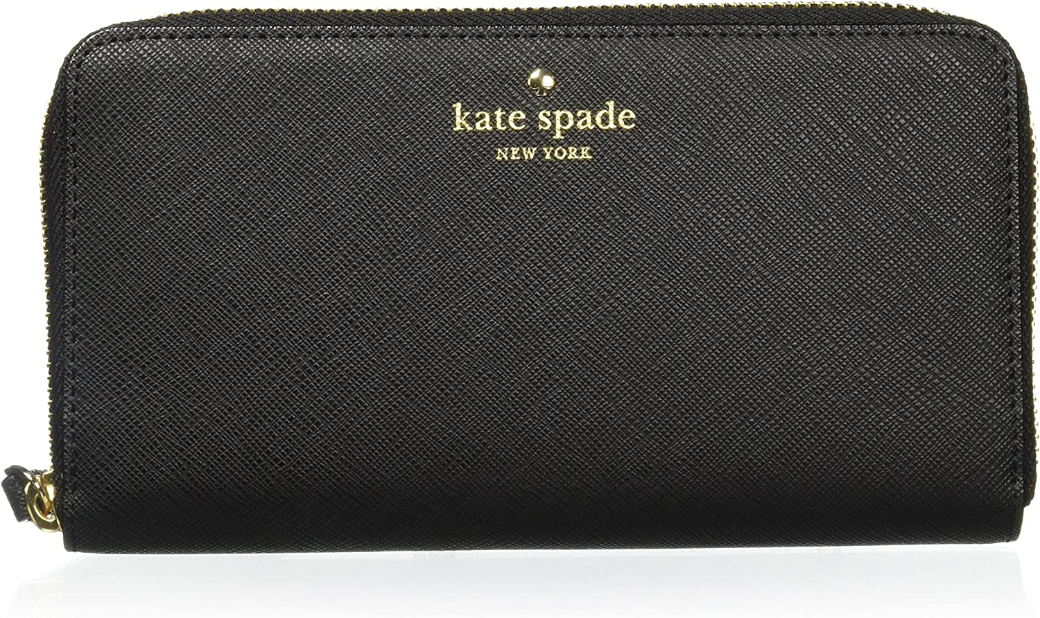 Kate Spade Pouch Black Zip Wallet Wristlet Leather Organiser Phone Purse