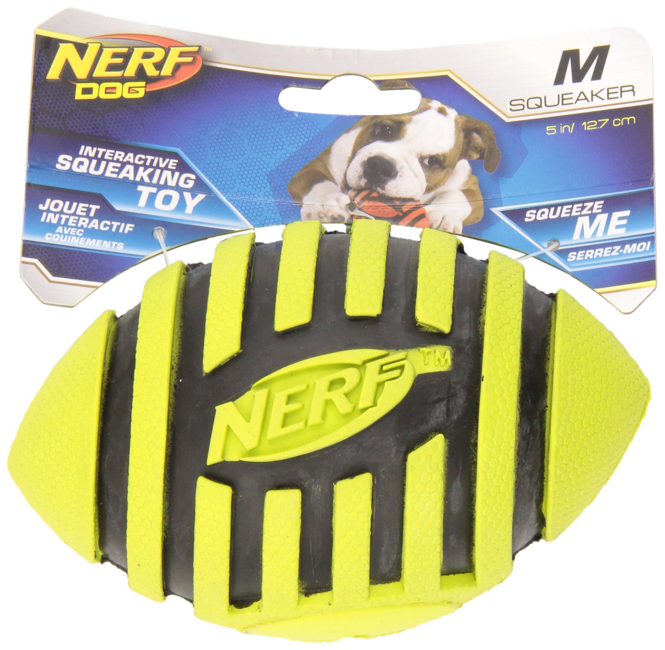 Nerf Dog Toys Spiral Squeak Football, 5'', Orange/Green