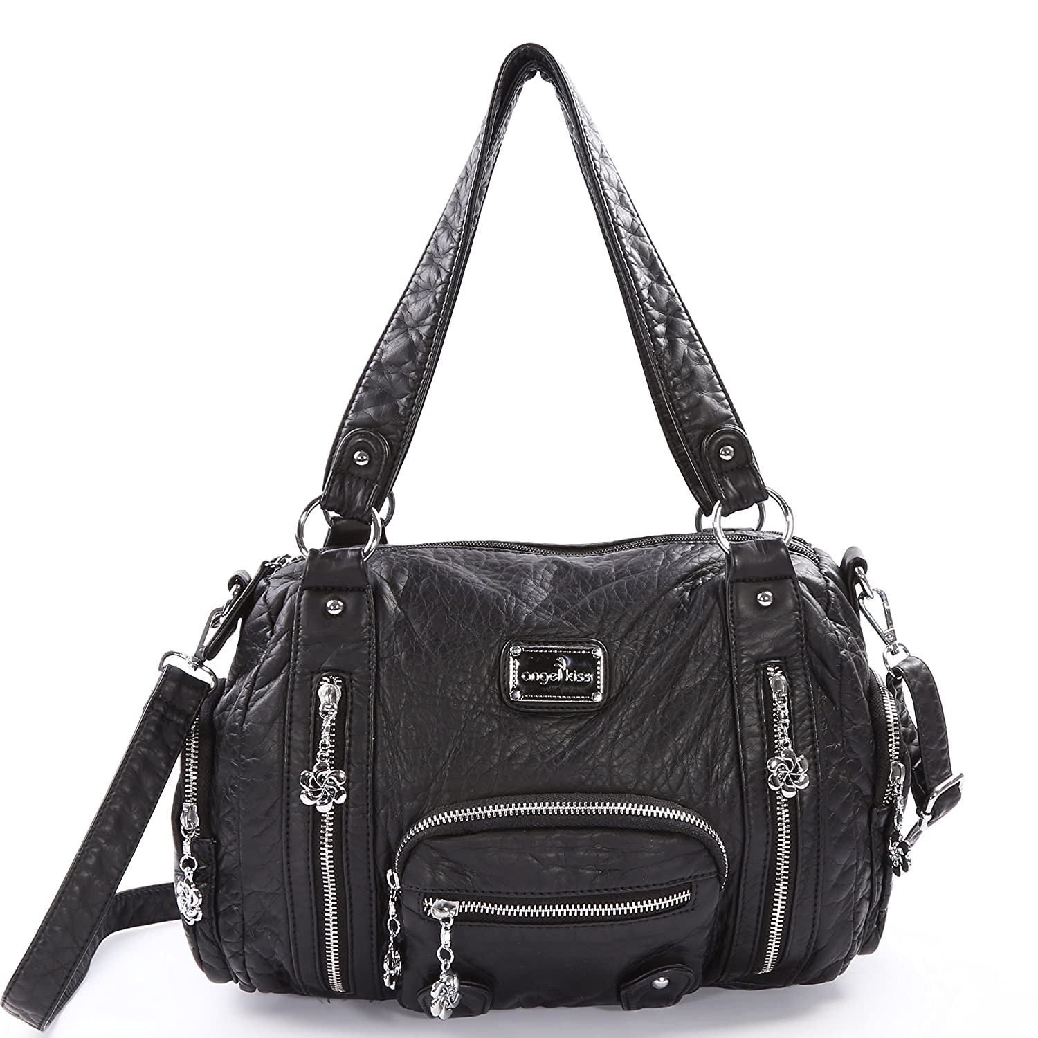 a0e3ce7beee Purses and Handbags - Angel kiss Women s Tote Handbag Water Resistant  Washed PU Leather Shoulder Messenger Bag With 2 Separated Compartments  (black-2)  ...