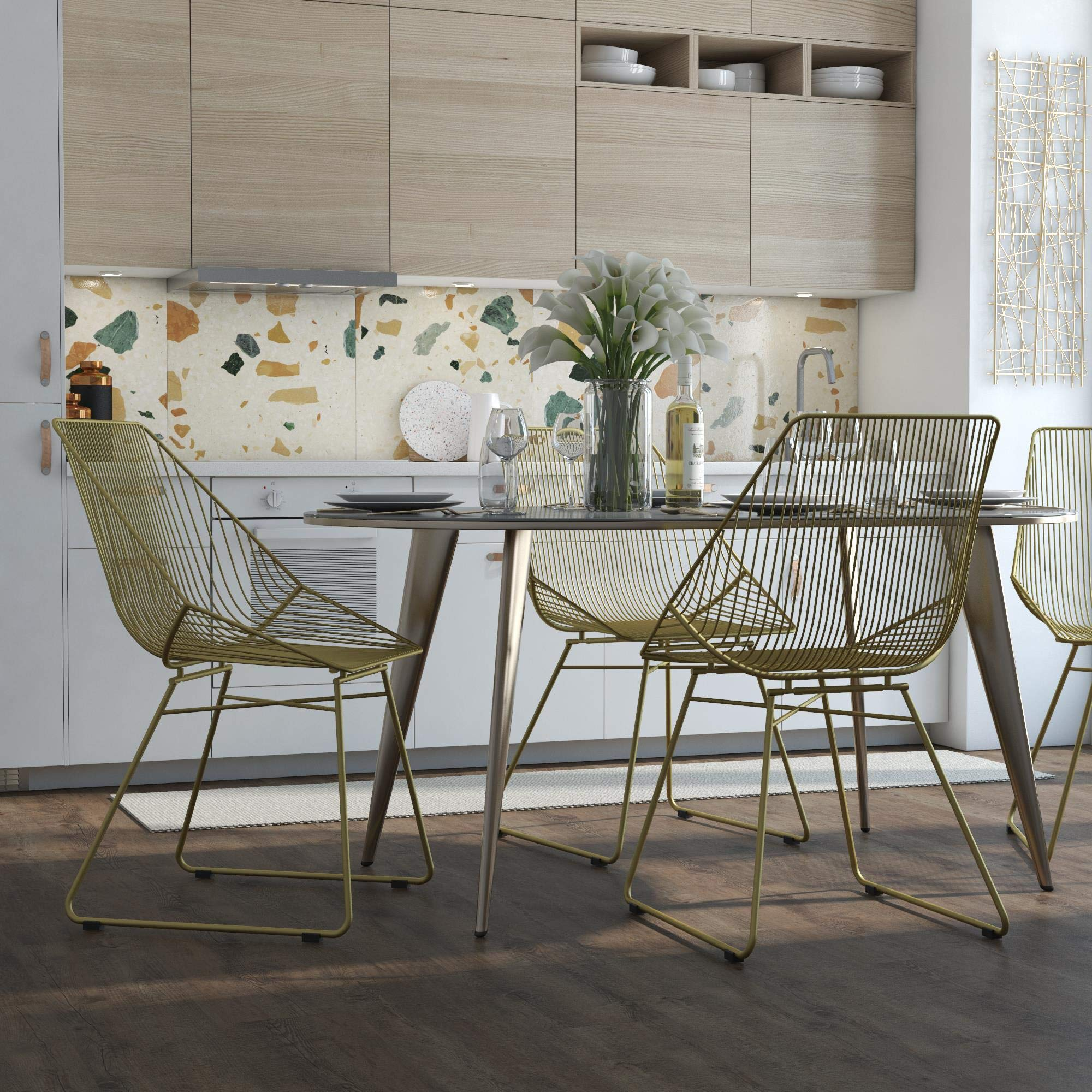 CosmoLiving by Cosmopolitan CosmoLiving Ellis Modern Accent, Gold Metal Chair by CosmoLiving by Cosmopolitan