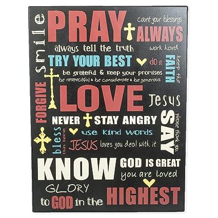 amazon com pray love forgive christian sayings 16 x 12 black wood