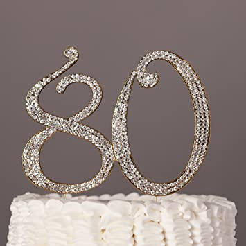 Amazoncom 80 Gold Cake Topper for 80th Birthday Party Crystal