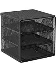OSCO SM3DS-BLK Small Wire Mesh 3 Drawer Chest - Black