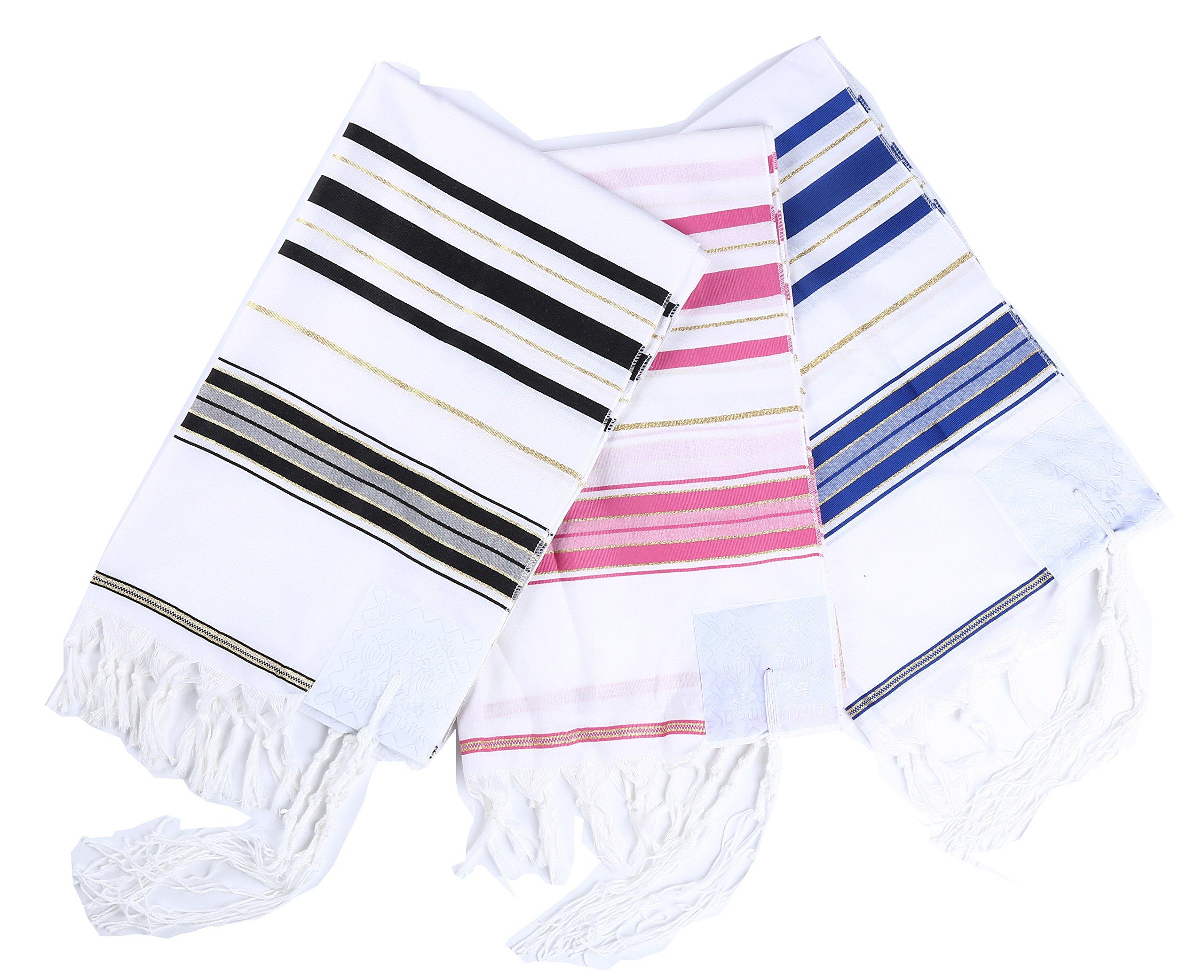 3pcs Pack Three colors Acrylic Tallit Prayer Shawl in Size 22'' L X 72'' W with Star of David bag