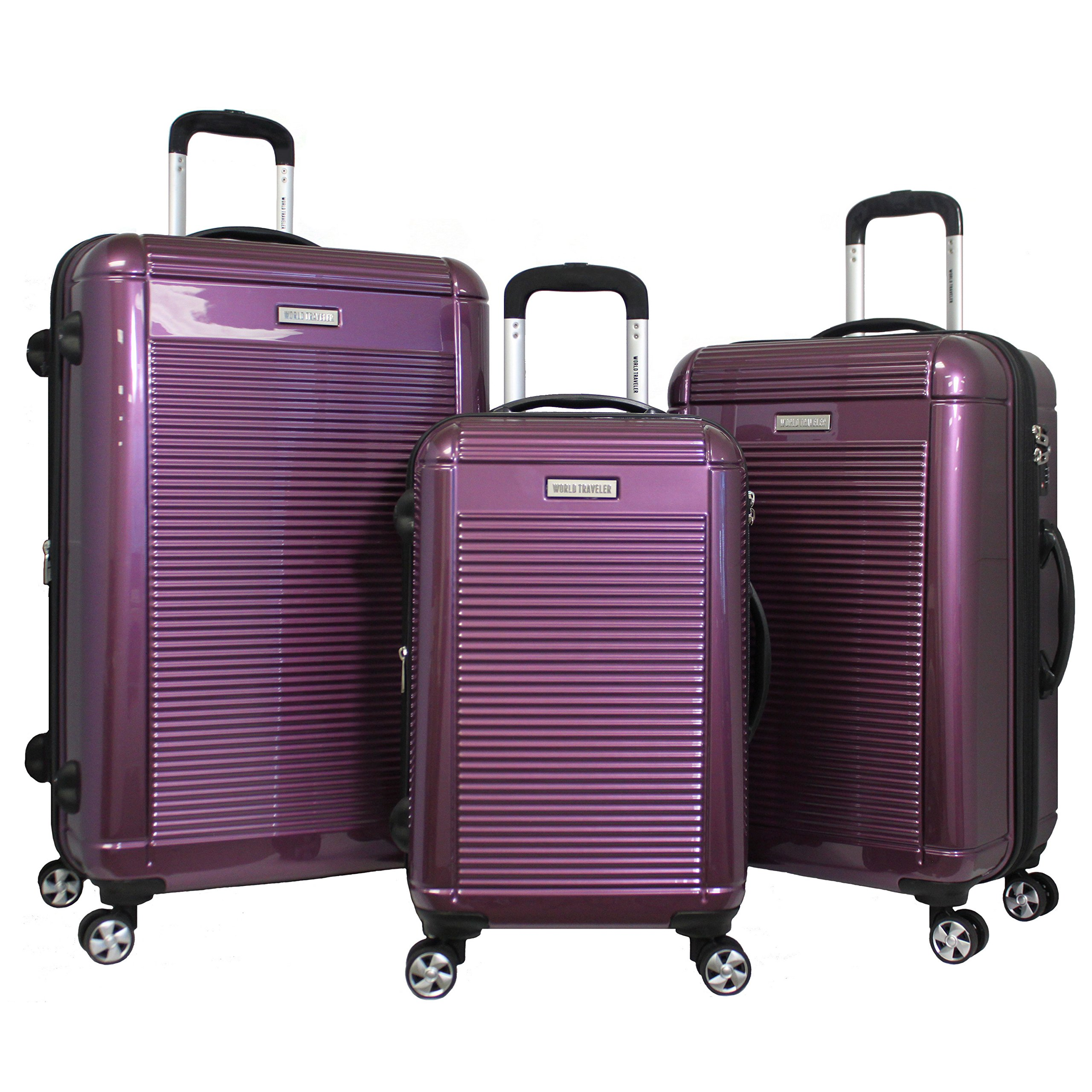 World Traveler Regal 3-Piece Hardside Lightweight Spinner Luggage Set, Purple