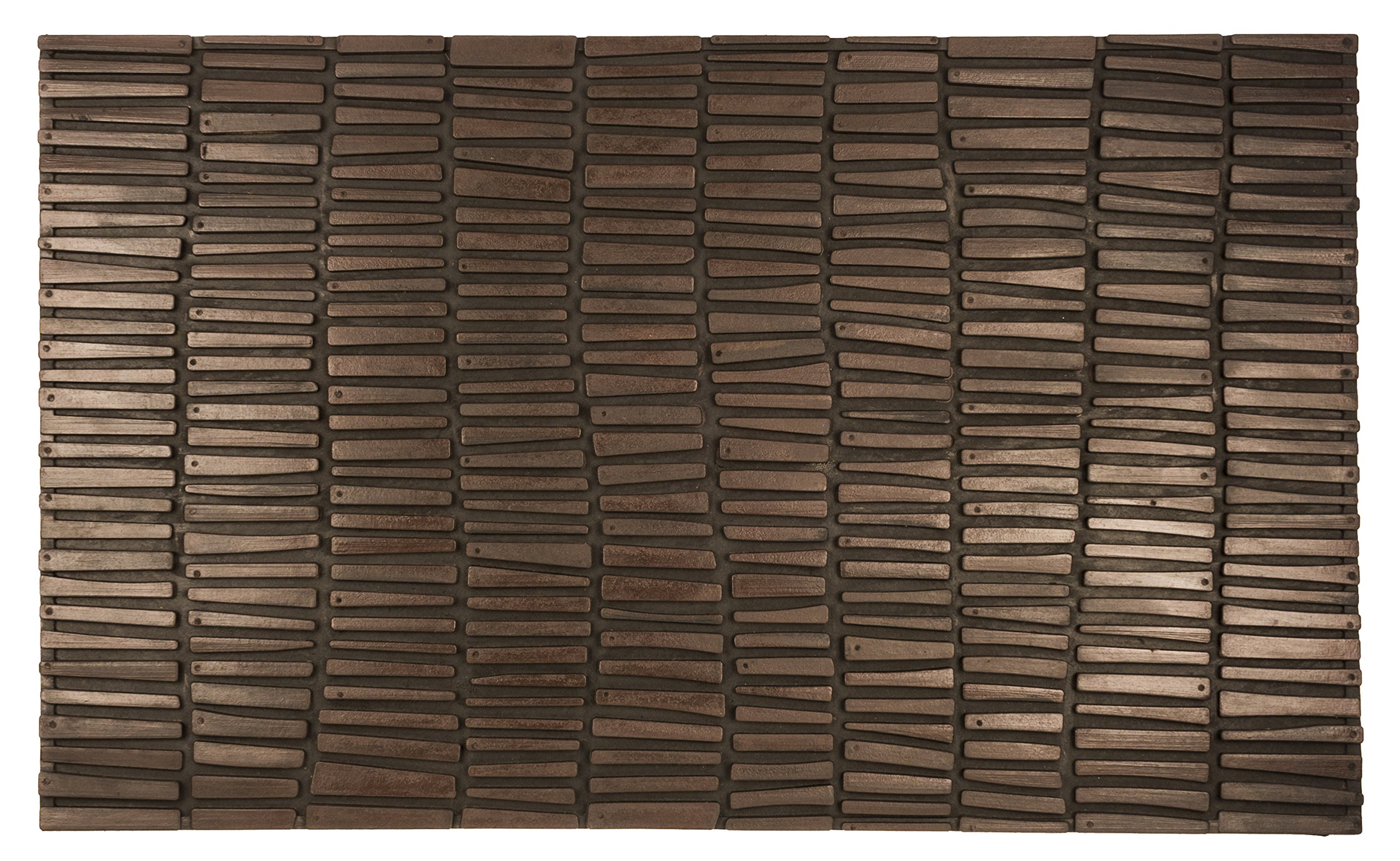 Entryways Wood Wall Recycled Rubber and Natural Latex Doormat, 18'' X 30'' X .50''