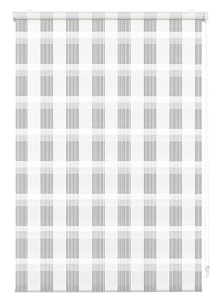 Doppelrollo zum Klemmen oder Kleben, Duo-Rollo/ Seitenzugrollo, Transparente und blickdichte Streifen, Alle Montage-Teile ink