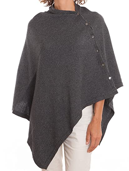 Dalle Piane Cashmere - Poncho with buttons cashmere blended yarns - Women,  Color: Anthracite