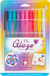 Sakura 38370 10-Piece Blister Card Glaze Assorted Color 3-Dimensional Glossy Ink Pen Set, Bright