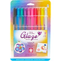 Sakura 58377 16-Piece Glaze Assorted Colors Cube Collection 3-D Glossy Ink Pen Set, Assorted, 10Pk Bright Set