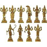 """Haristore Dashavatara -Ten Incarnations/Avatars of Lord Vishnu - Brass Statue, Height 6""""I Home Decor"""