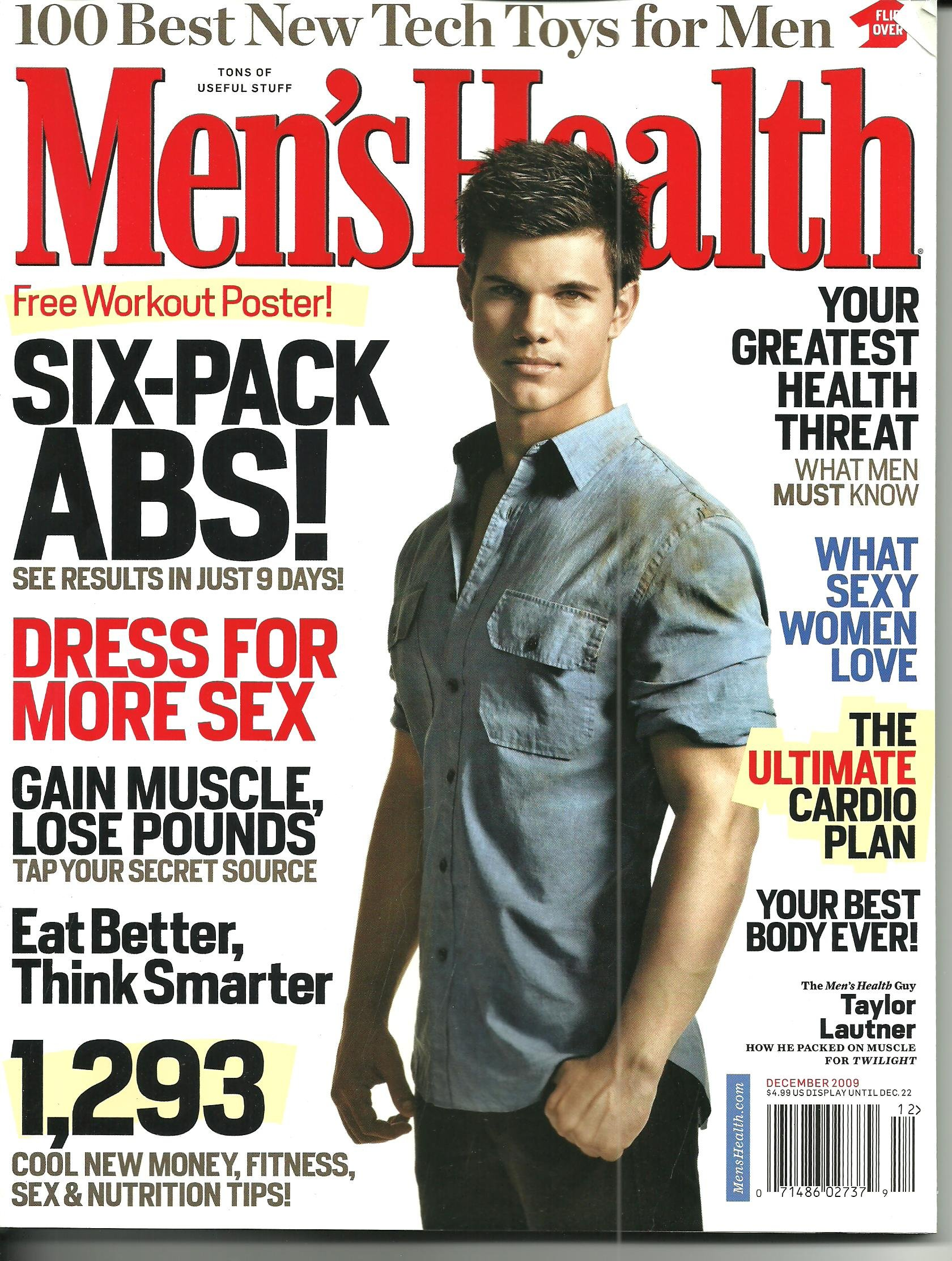 a916234c316 Men s Health December 2009 Taylor Lautner Best Guy Foods in America The  Ultimate Cardio Plan Your Greatest Health Threat Print – 2009