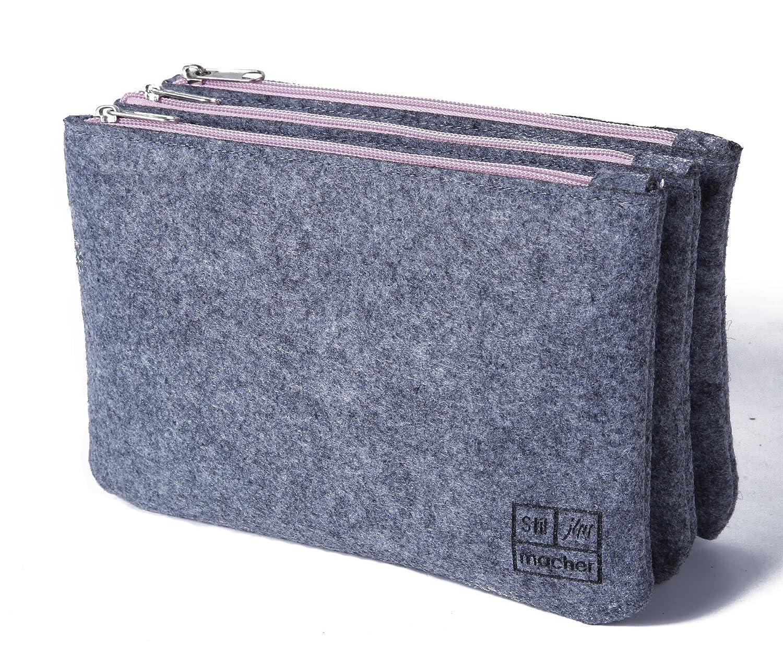 stil-macher 3er Set Bag in Bag | Handtaschen Organizer Filz | Taschenorganizer | Schminktasche |Make-Up Tasche | 22x15x7cm (LxHxB)
