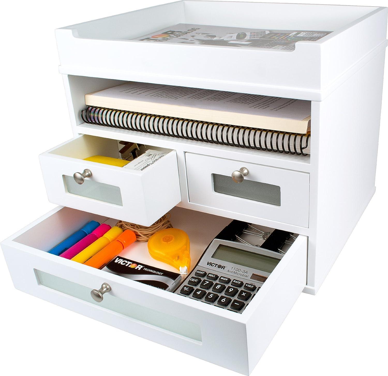 Victor White Desk Organizer - Wooden Construction with Storage Drawers
