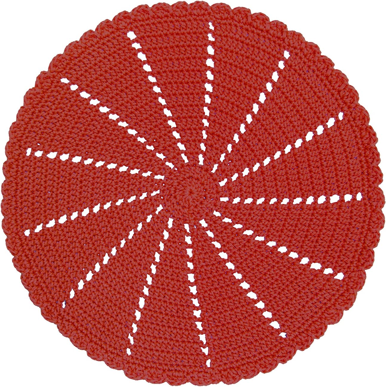 "Heritage Lace Mode Crochet Doily/Charger, 15"", Red"