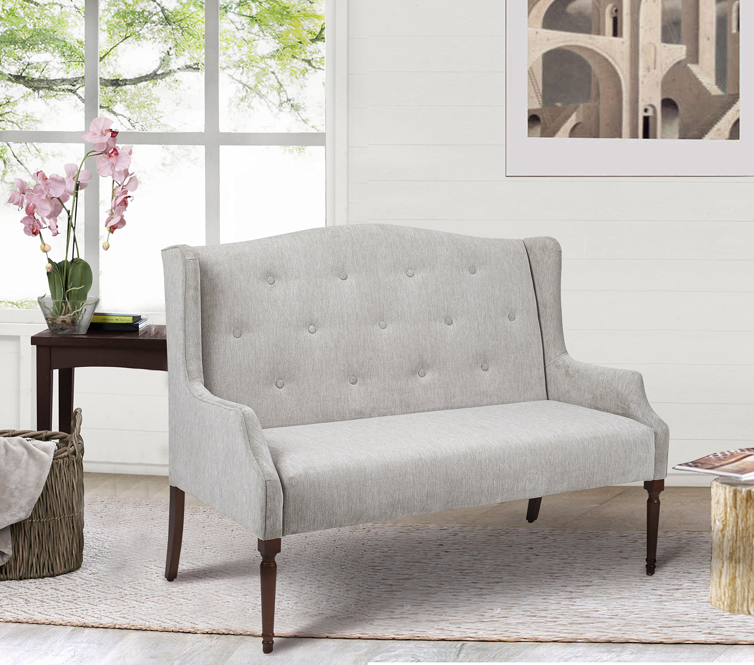 Jennifer Taylor Home Izzy Collection Modern Chic Stylish Hand Tufted Settee with Wooden Legs, Silvery Gray by Jennifer Taylor Home