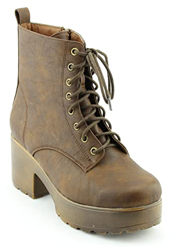 Women's Shoes Casual Faux Leather Suede Lace Up Combat Boots Ankle Bootie