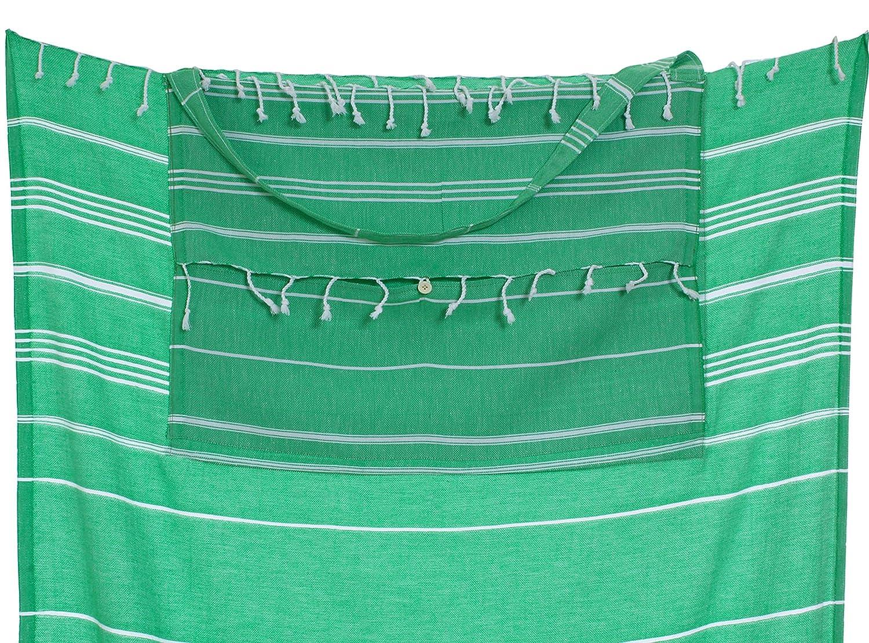 Green CACALA Pestemal 100 x 180 x 0.5 cm Asciugamano Turco con Borsa Cotone