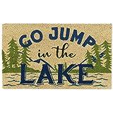 "DII Natural Coir Doormat, Fun Greeting Mat, Jump in the Lake, 18x30"""