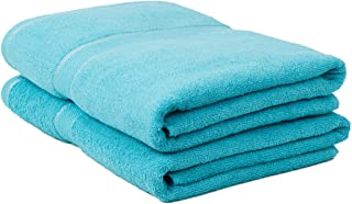 Classic Collection Premium 100% Organic Cotton Oversized Extra Large Bath Towels 34' X 60' Natural, Durable, Ultra-Absorbent,Luxurious Rayon Trim,Embroidery Decorative Set(2 Pack,Blue)