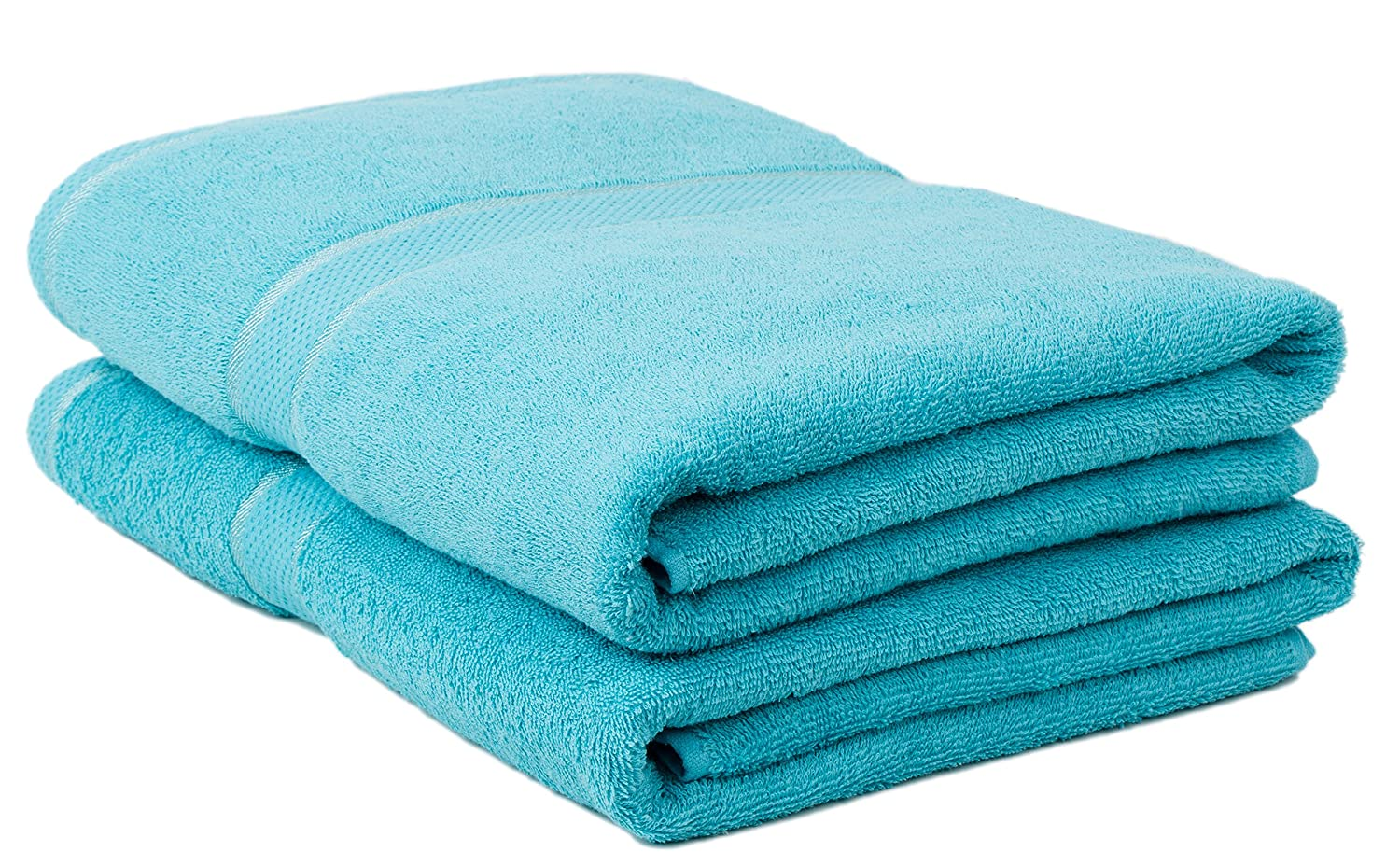 Durable Ultra-Absorbent,Luxurious Rayon Trim,Embroidery Decorative Set Classic Collection Premium 100/% Organic Cotton Oversized Extra Large Bath Towels 34 X 60 Natural 2 Pack,Blue