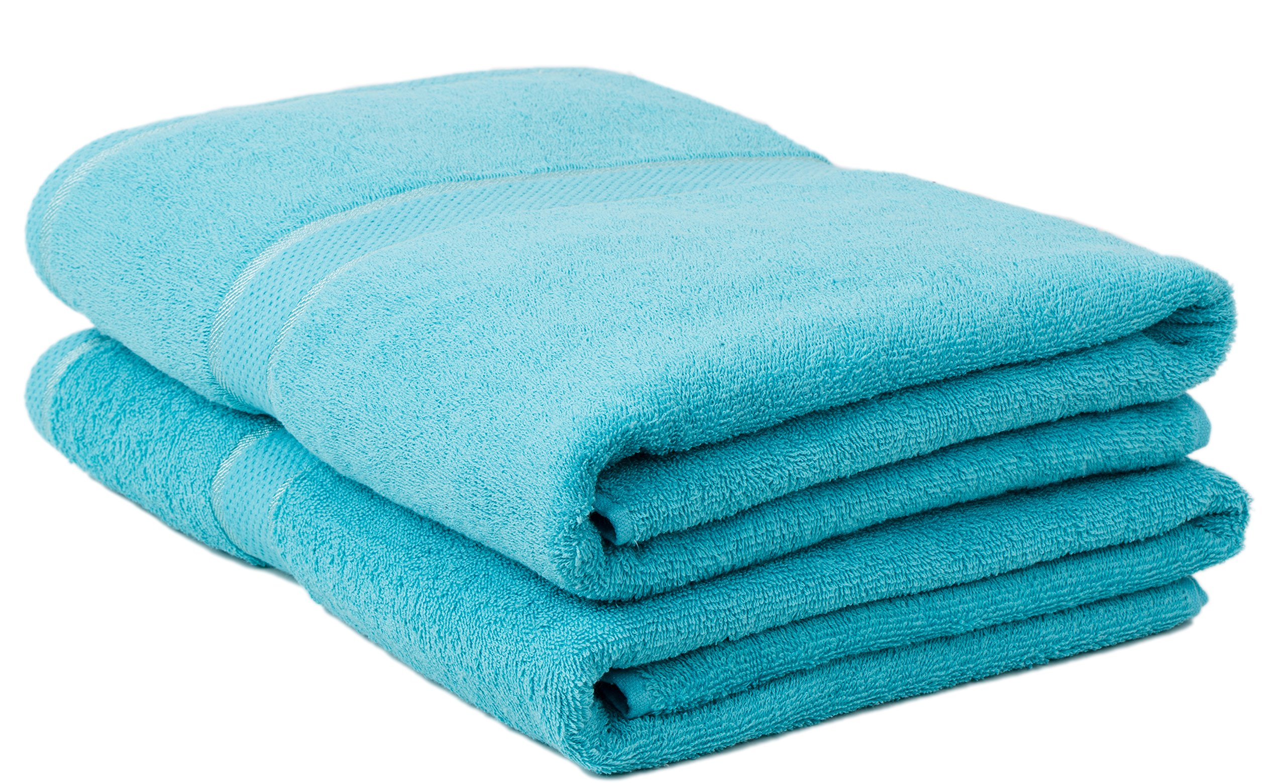 Classic Collection Premium 100% Organic Cotton Oversized Extra Large Bath Towels 34'' X 60'' Natural, Durable, Ultra-Absorbent,Luxurious Rayon Trim,Embroidery Decorative Set(2 Pack,Blue)