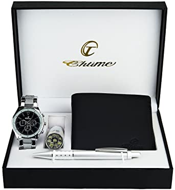 d64c48099ee1 Image Unavailable. Image not available for. Colour  Gift Set Men s Watch  Black - LED Lamp LED - Wallet -Pen