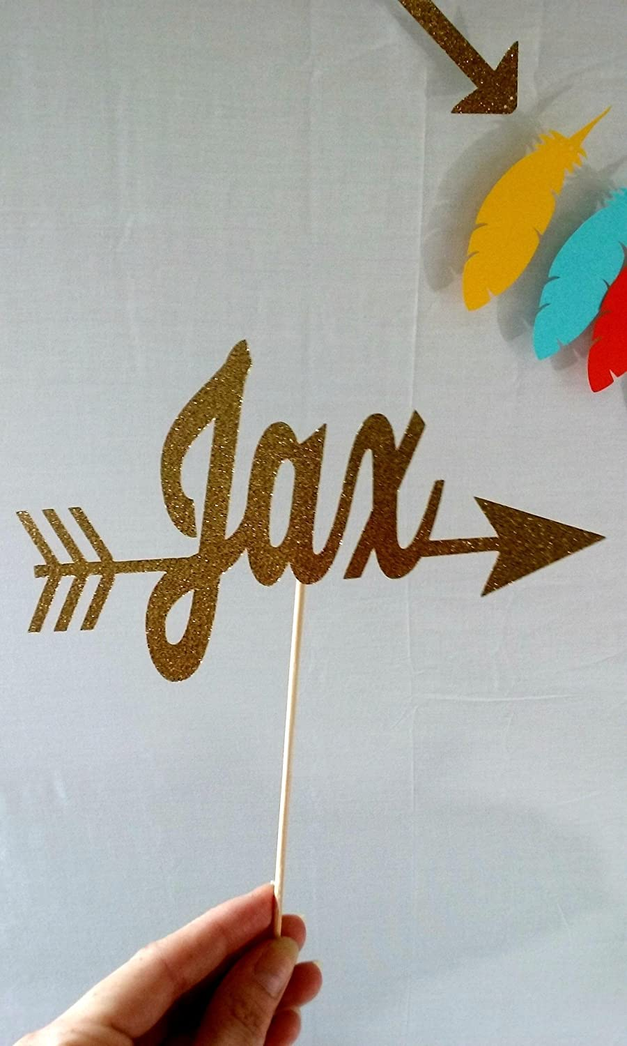 tribal birthday tribal party party supplies Name Cake Topper with Arrow