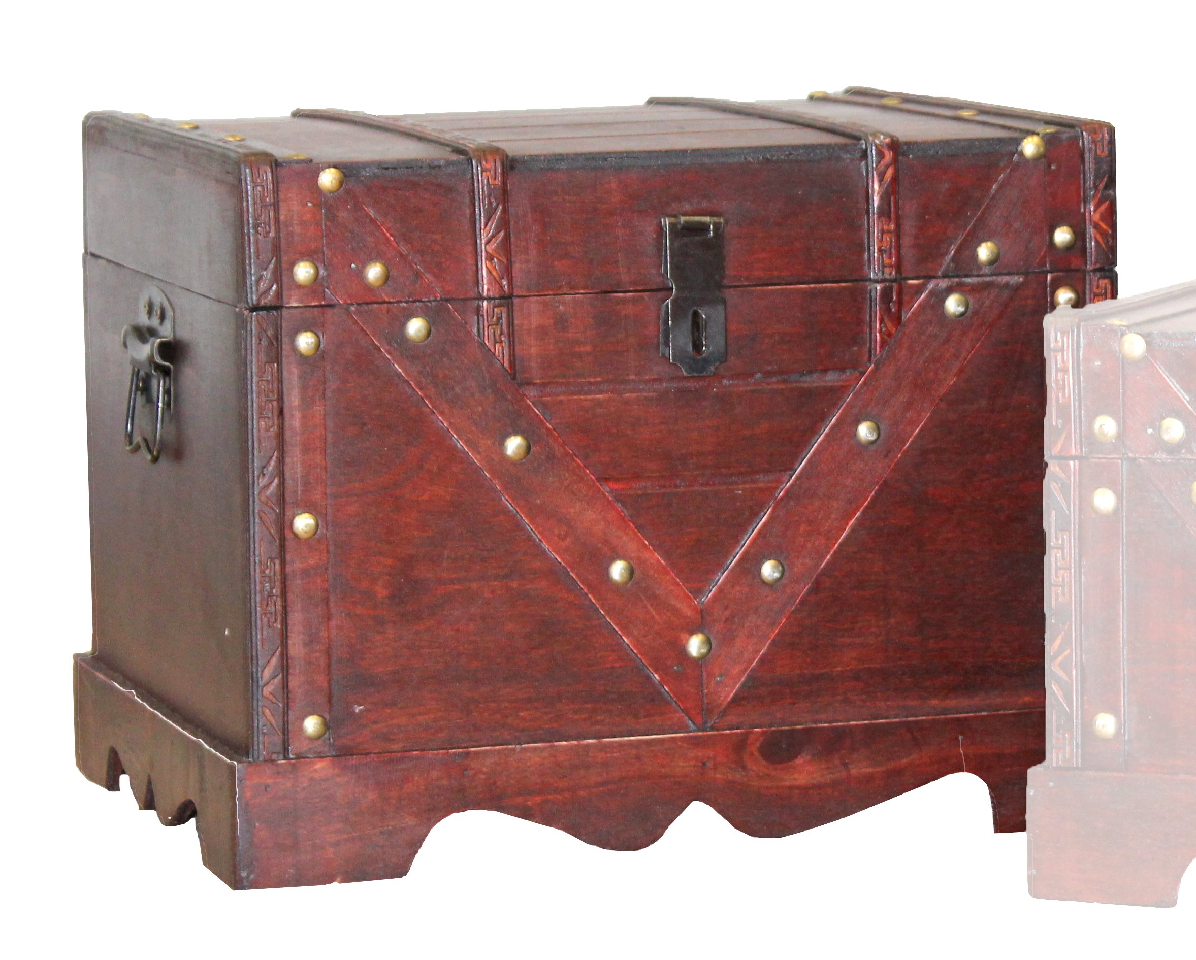 Vintiquewise QI003315.L Large Wooden Box, Old Style Decorative Treasure Chest