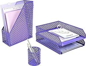 ANNOVA Mesh Desk Organizer 4 Pieces Office Suppliers Desktop Organizer Set Desk Accessories - Letter/File Tray x 2, Magazine Rack/Upright Document Holder x 1, Pen Holder x 1 (Purple)