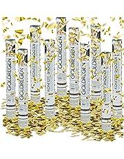 10x lanceurs de confettis canons cotillons dorés or décoration mariage cadeau fête party popper 40 cm portée 6-8 m, doré métallique