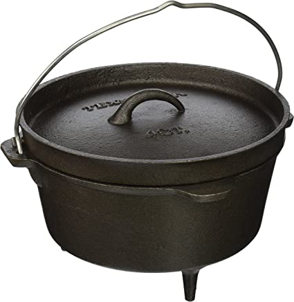 Texsport Cast Iron Dutch Oven with Legs Lid Dual Handles and Easy Lift Wire Handle.