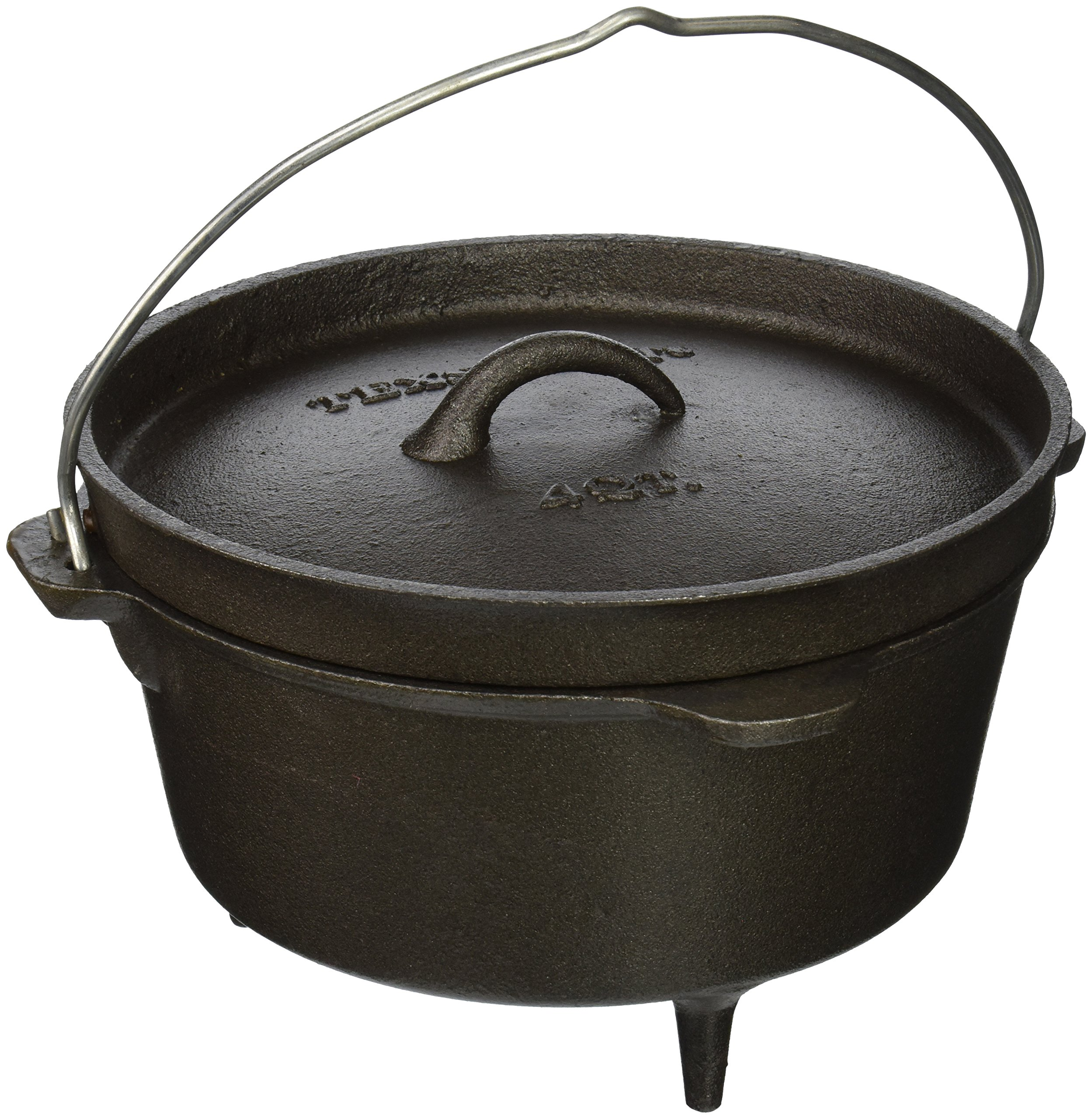 Texsport Cast Iron Dutch Oven with Legs, Lid, Dual Handles and Easy Lift Wire Handle. by Texsport