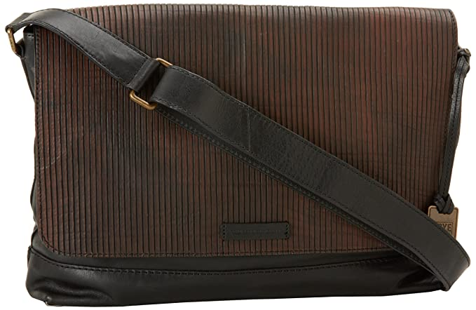 FRYE Men's James Veg Cut Leather Messenger Bag, Dark Brown, One Size