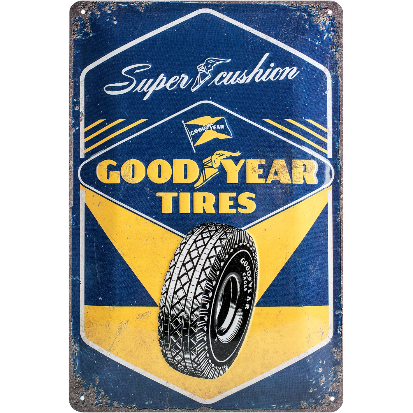 GOOD YEAR TIRES VINTAGE RETRO METAL TIN PLAQUE GARAGE SIGN UK SELLER